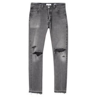 Re/Done High Rise Distressed Grey Denim Jeans