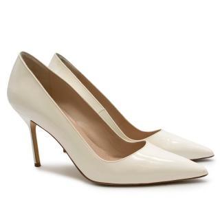 Manolo Blahnik Patent Leather Cream Pointed Toe Pumps