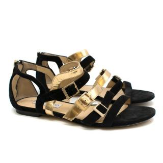 Jimmy Choo Black and Gold Suede Bloom Buckle Sandals