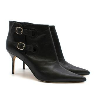 Manolo Blahnik Black Leather Double Buckle Ankle Boots