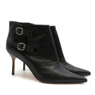 Manolo Blahnik Black Leather Double Buckle Ankle Boots