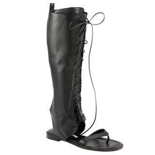 Manolo Blahnik Black Leather Vestalapla Laceup Sandals