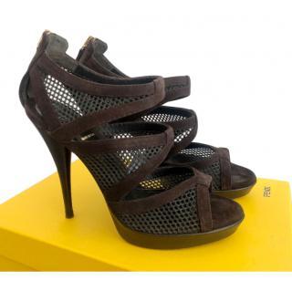 Fendi Brown Suede & Fishnet Sandals
