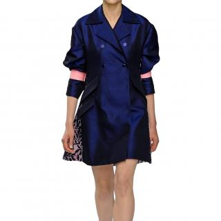 Christian Dior Navy Cotton Twill Runway Coat with Black Lace Back