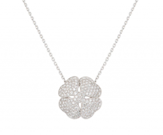 Cartier Diamond Set White Gold Lucky Clover Necklace