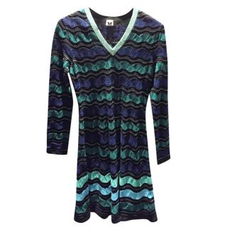 M Missoni Green Striped Knit Dress