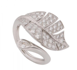 Van Cleef & Arpels White Gold Diamond Leaf Wrap Ring