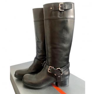 Prada Nebraska Black Leather Knee Boots