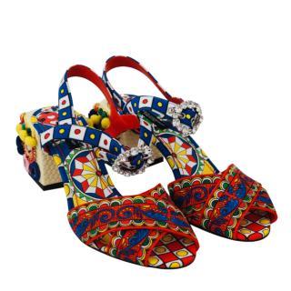 Dolce & Gabbana Sicily Print Pom Pom Crystal Strappy Sandals