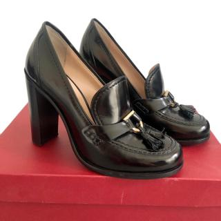 Ferragamo Black Patent Leather Corinna Pumps