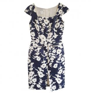 Oscar De La Renta Navy & White Floral Print Midi Dress