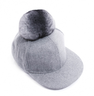 FurbySD Chinchilla Fur Natural Wool Cap