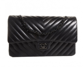 Chanel Black Chevron So Black Medium Flap Bag