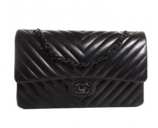 Chanel Black Chevron So Black Medium Flap Bag