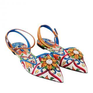 Dolce & Gabbana Sicily Majolica Print Crystal Embellished Sandals