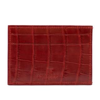 Analeena Red Crocodile Card Holder