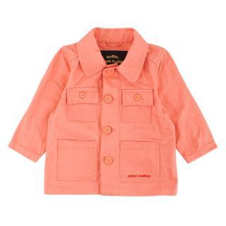 Mini Rodini Organic Cotton Pink Jacket with Embroidered Crocodile