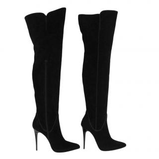 Fabric black suede over the knee heeled boots