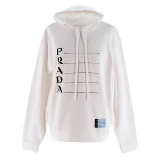 Prada White Graphic Printed Hoodie