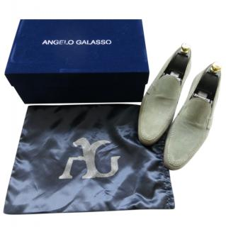 Angelo Galasso pale blue summer suede loafers