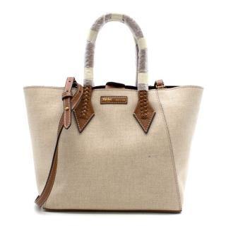 Metier Perriand Medium Natural Linen with Cognac Bag