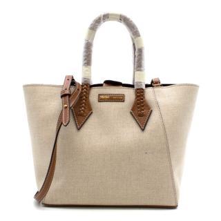 Metier Perriand Medium Natural Linen with Cognac Bag