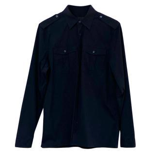 Burberry Prorsum navy blue cotton military shirt