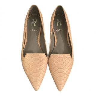 Gina beige python leather pointed flats
