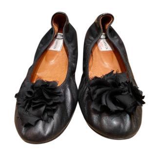 Lanvin Black Floral Embellished Ballerinas