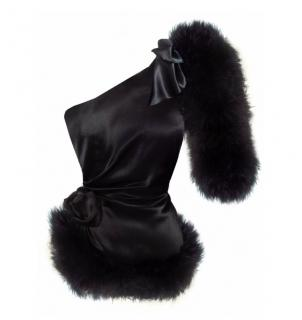 Maguy De Chadirac black one-shoulder marabou feathered top