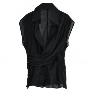 Ferragamo Black Fitted Sleeveless Blouse