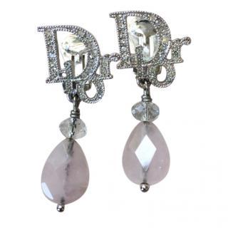 Dior Crystal Logo Rose Quartz Drop Earrings