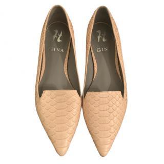 Gina Beige Pointed Toe Python Ballerina Flats
