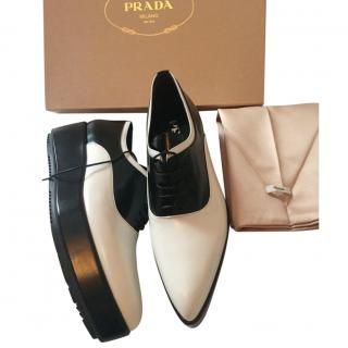 Prada White Pointed Toe Platform Loafers