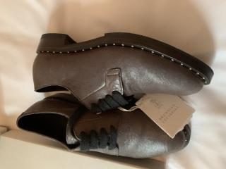 Brunello Cucinelli Grey Lace-up Studded Brogues