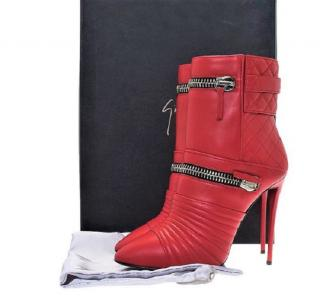 Giuseppe Zanotti red quilted leather biker boots