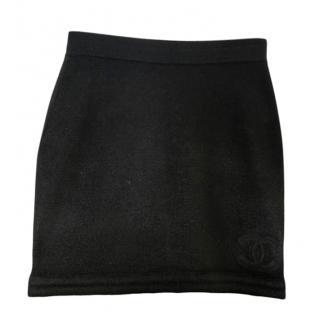 Chanel Black Wool Mini Skirt