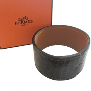 Hermes Dark Brown Crocodile Leather Wrap Cuff