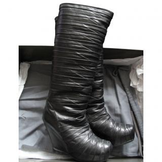 Rick Owens Black calf leather multi strap 'mummy' wedge boots