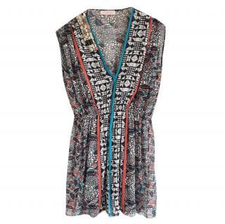 Matthew Williamson Silk Chiffon Sleeveless Printed Dress