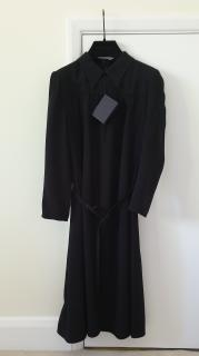 Prada Black Long Sleeve Belted Dress