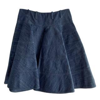 Alaia Denim A-Line Lurex Skirt
