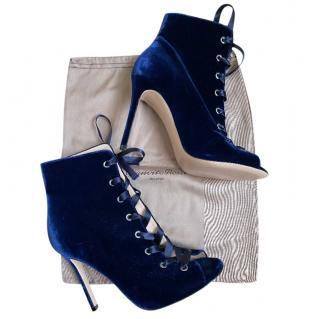 Gianvito Rossi Royal Blue Velvet satin tie Velvet booties
