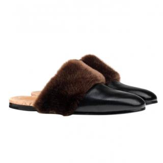 Gucci Black Leather And Faux Fur Slipper
