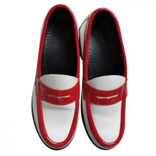 J W Anderson red trim white loafers