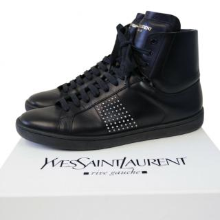 Saint Laurent studded black leather high tops