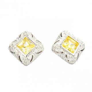 Judith Ripka Canary Crystal Estate Earrings