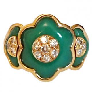 Van Cleef & Arpels Jade & Diamond Floral Vintage Ring
