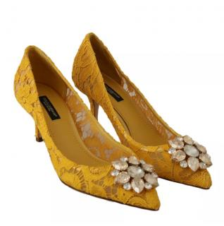 Dolce & Gabbana embellished yellow lace Bellucci pumps