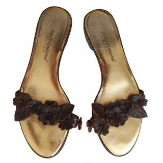 Dolce & Gabbana Floral Embellished Flat Sandals